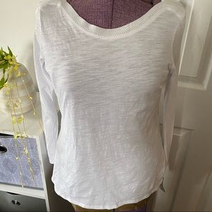 Ecru Long Sleeved Embroidered Tee L NWT